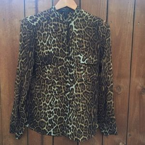 BCBGMaxAzria Leopard Sheer Anderson Blouse Silk